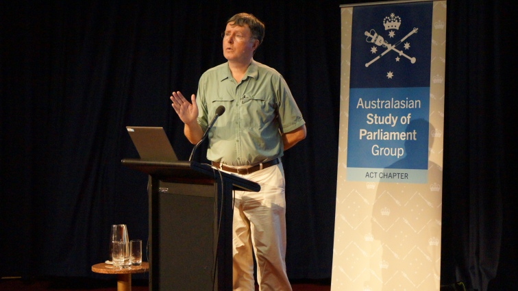 Professor Dunleavy speaks at the ACT ASPG event